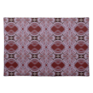 oval frame tones of red fractal cloth placemat