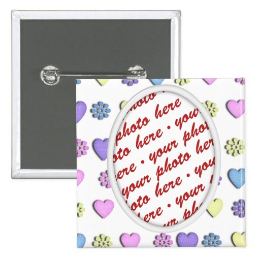 Oval Frame With hearts 2 Inch Square Button