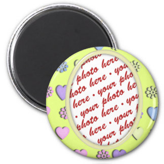 Oval  Frame yellow with hearts 2 Inch Round Magnet