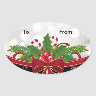Oval Gift Tag Sticker-Red Bow Oval Sticker