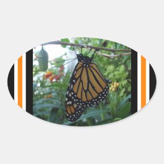 Oval Glossy Stickers,Monarch Style #1b Oval Sticker