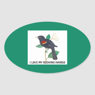 Oval glossy stickers with bird