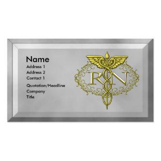 Oval Gold Caduceus RN Nurse Business Card Template