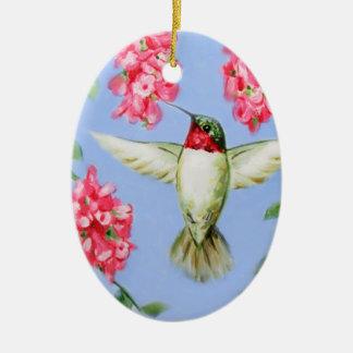 Oval Hummingbird Ornament