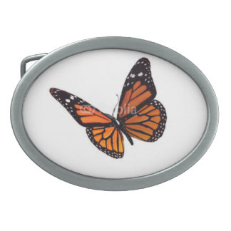 Oval Label De Mascota image butterfly Belt Buckle