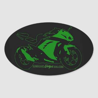 Oval motorcycle forum sticker Green and black