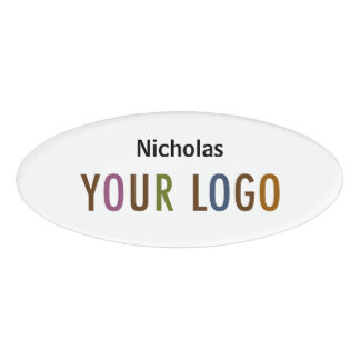 Oval Name Badge Magnet Custom Logo Employee Staff