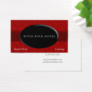 Oval shaped business cards templates zazzle oval obsidian on red damask type 42 business card colourmoves Images