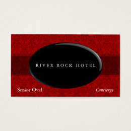 Oval Obsidian on Red Damask Type 42 Business Card