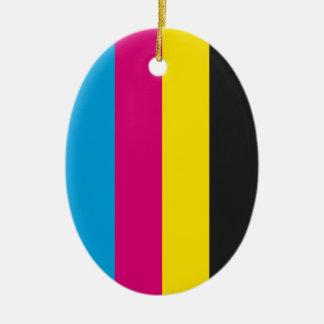 Oval ornament CMYK stripes
