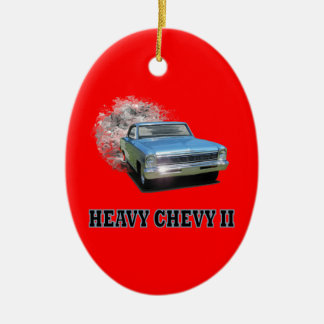 Oval Ornament With Chevy II Drag Racing Design