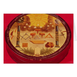 Oval painted box, with symbols of Freemasonry Greeting Card