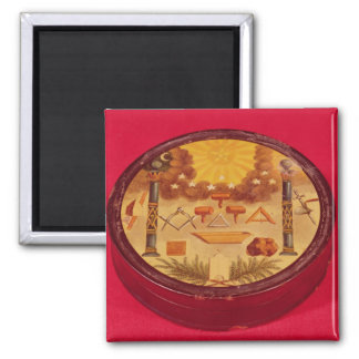 Oval painted box, with symbols of Freemasonry Magnet