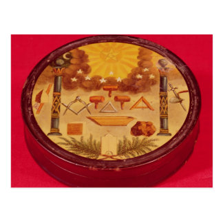 Oval painted box, with symbols of Freemasonry Postcards