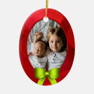 Oval Photo Red Green Christmas Bow Ceramic Ornament