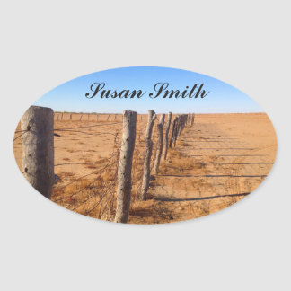 Oval photo sticker with name - Australian outback