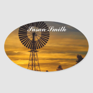 Oval photo sticker with name - outback sunset