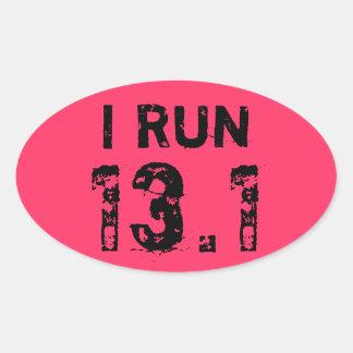 Oval Pink I Run 13.1 Sticker