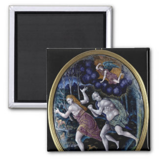 Oval plaque depicting Adam and Eve Magnet