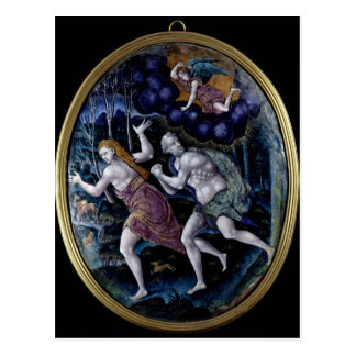 Oval plaque depicting Adam and Eve Postcard
