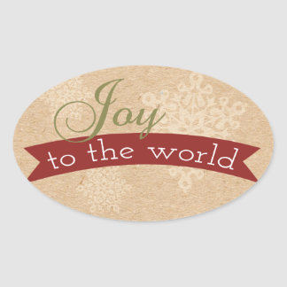 Oval Rustic Joy To The World Holiday Stickers