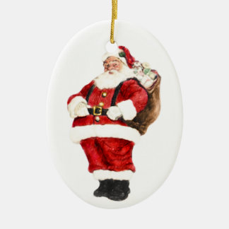 Oval Santa Claus Christmas Ornament