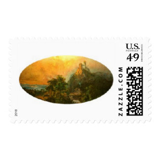 Oval Seaside Nature Scene Stamps