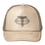 Oval Silver Caduceus Nurse Mesh Hat