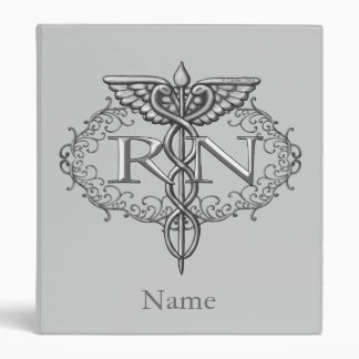 Oval Silver Caduceus RN Nurse Binder