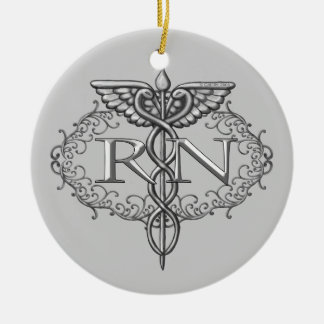 Oval Silver Caduceus RN Nurse Double-Sided Ceramic Round Christmas Ornament