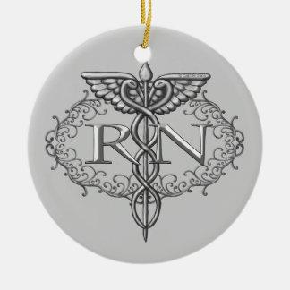 Oval Silver Caduceus RN Nurse Christmas Ornament