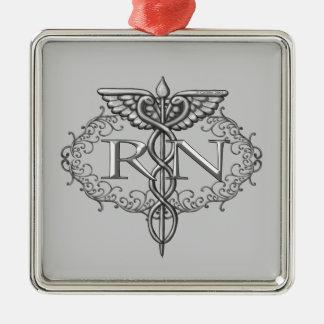 Oval Silver Caduceus RN Nurse Square Metal Christmas Ornament