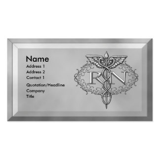 Oval Silver RN Nurse Double-Sided Standard Business Cards (Pack Of 100)