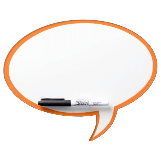 Oval Speech Bubble Wall Decor in Orange Dry Erase Board