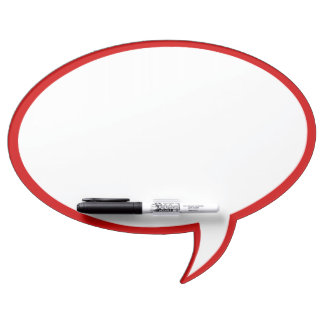 Oval Speech Bubble Wall Decor in Red Dry-Erase Board