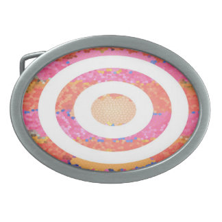 Oval Stained Glass Pink Presentation Oval Belt Buckles
