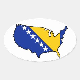 Oval Sticker: Bosnian in USA Oval Sticker