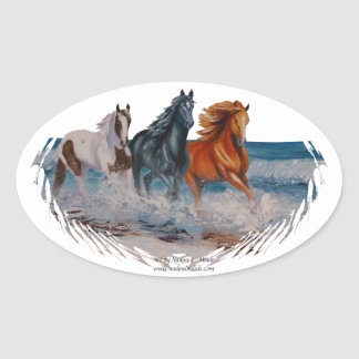 Oval sticker, Horses in the surf Oval Sticker