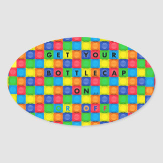 Oval Sticker with Fun Bottlecap Design