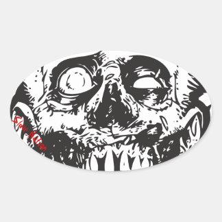 Oval Sticker, Zombie Head, Slave Nation Oval Sticker