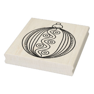 Oval Striped Christmas Ornament Rubber Stamp