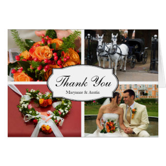 Oval thank you 4 photo montage personal note greeting cards