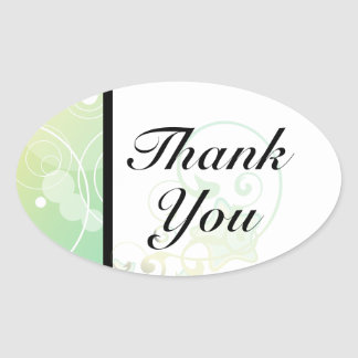 Oval Thank You Seal Bubble Star Fairy Tale Sticker