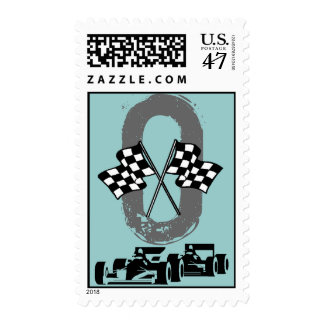 Oval Track checkered Flags auto racing Stamps