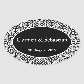 Oval wedding mono gram with Damastmuster Oval Sticker