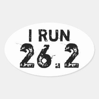 Oval White I Run 26.2 Sticker