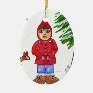 Oval Winter Friends Ornament with saying