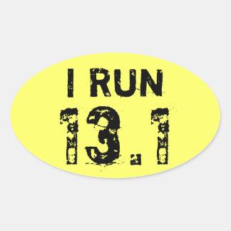 Oval Yellow I Run 13.1 Sticker