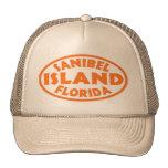 Óvalo anaranjado de la Florida de la isla de Sanib Gorros Bordados