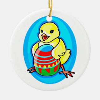 óvalo azul del huevo grande amarillo feliz del adorno redondo de cerámica